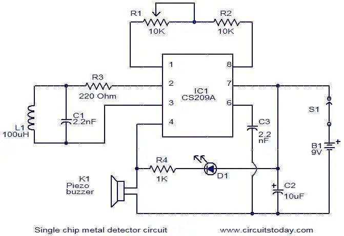 Single Chip Metal Detector Circuit