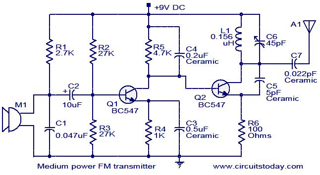 Medium Power FM Transmitter Circuit