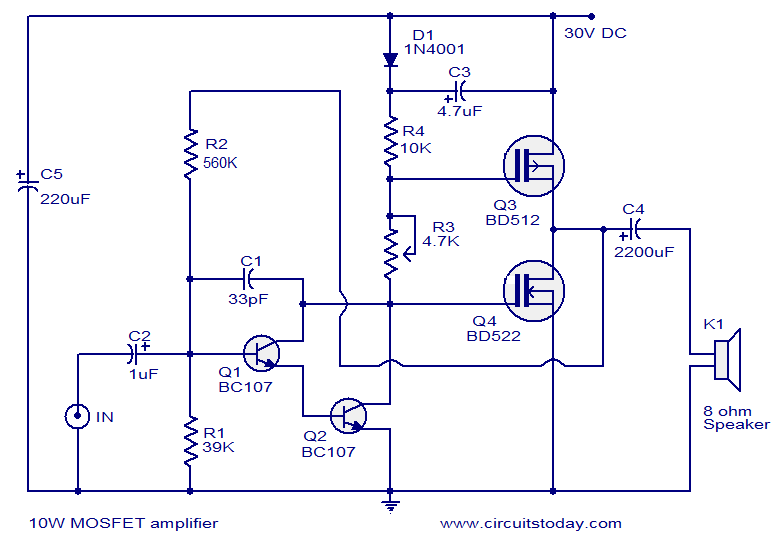 Simple Class B Or AB Mosfet Amp