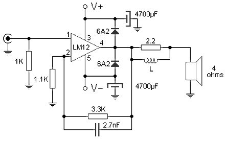 100W audio amplifier based LM12CLK » CircuitsZone.com