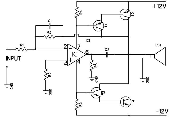 12w amplifier circuit using 741 op amp a 12 watt audio amplifier