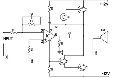 12 watt amplifier circuit based 741 op-amp