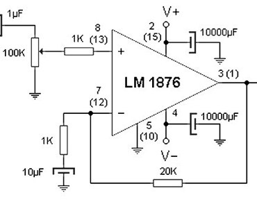 20w stereo amplifier based lm1876
