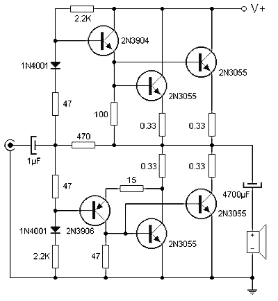 90 Watt audio power amplifier circuit based on transistor