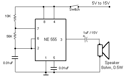Electronic buzzer circuits with ne555 timer IC