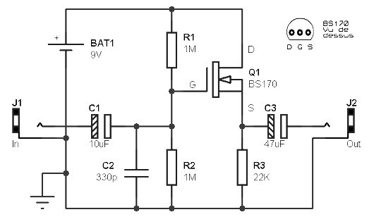 Guitar preamp Circuit based FET » CircuitsZone.com