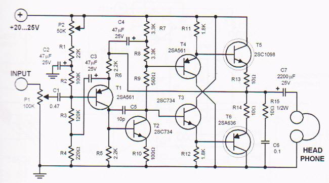 headphone amplifier circuit design based transistors