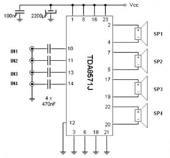 Quad amplifier 40W Circuits » CircuitsZone.com
