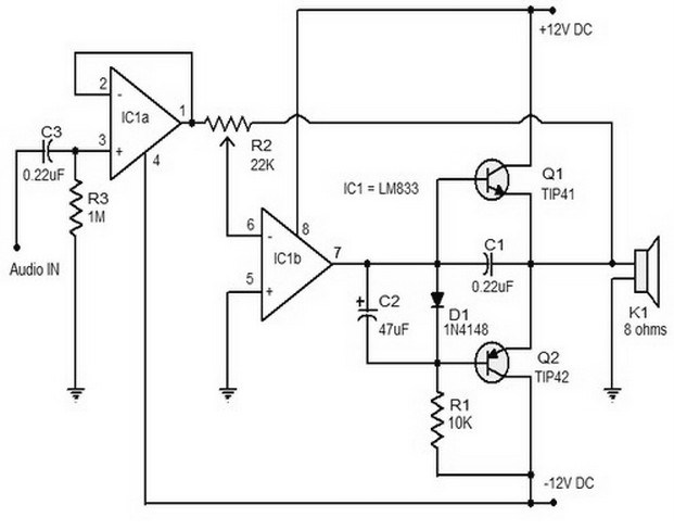 15 W Class B Audio Amplifier Circuit » CircuitsZone.com