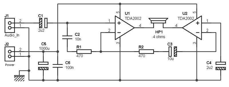 15W Headphone Bridge Amplifier » CircuitsZone.com