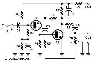 Portable Mic Preamp Circuits with Transistors