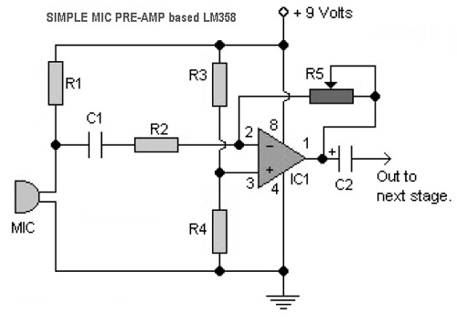 Simple Mic PreAmp Circuits based LM358 » CircuitsZone.com