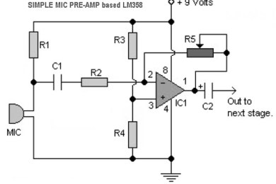 simple mic preamp circuits based LM358
