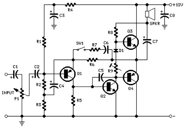 2 Watt Amplifier Circuit Diagram Based Cheap Transistor
