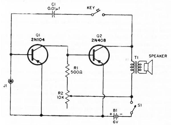 Simple Audio Amplifier/Oscilator Circuit with Two
