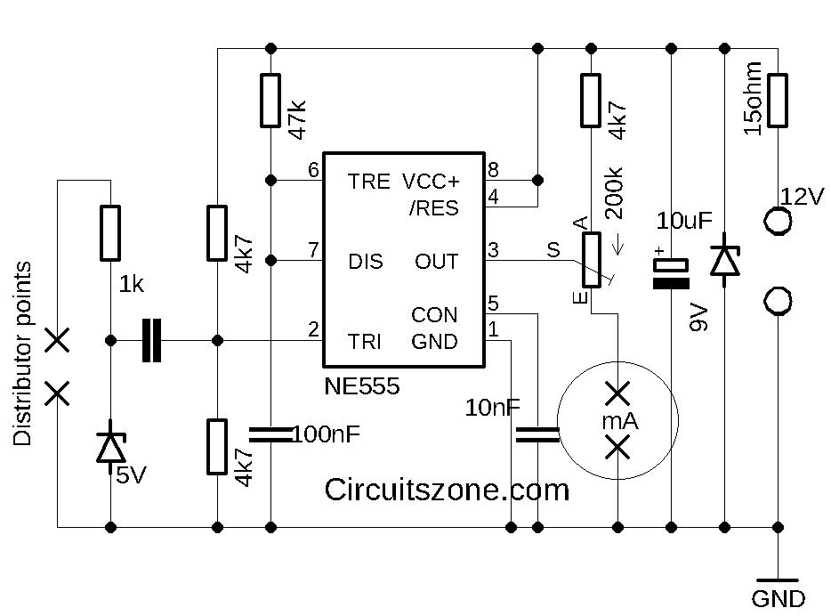 Car Tachometer circuit based 555 IC » CircuitsZone.com