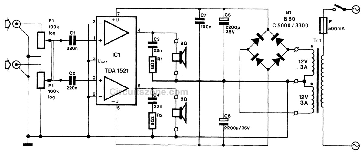 Integrated Stereo Amplifier Circuit Based IC TDA 1521