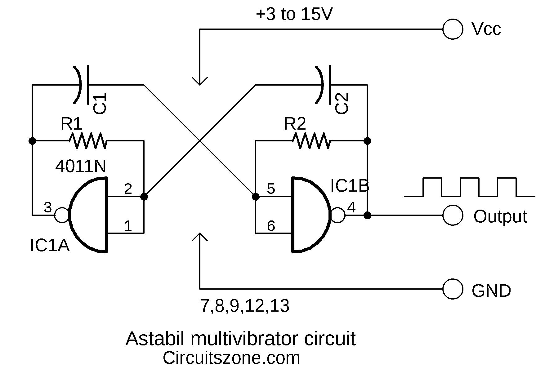 Astabil Multivibrator circuit using CMOS » CircuitsZone.com