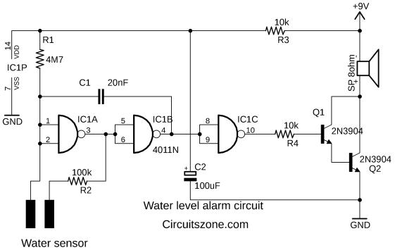 water level alarm circuit