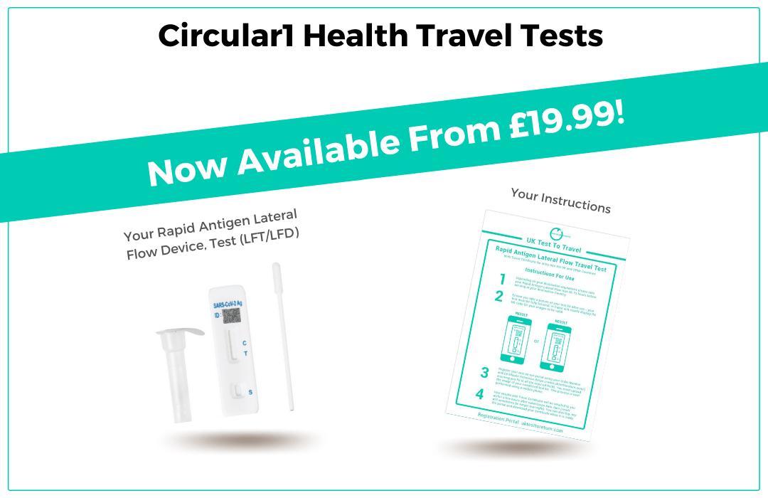 Circular1 Health Rapid Antigen Swab, Lateral Flow LFT LFD Travel Tests £19.99