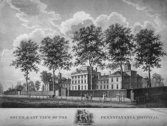 An illustration of a large building with three wings surrounded by a brick wall and shaded by trees