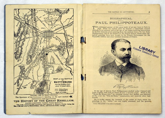 Pamphlet open to a map of gettysburg and a portrait and biography of the artist