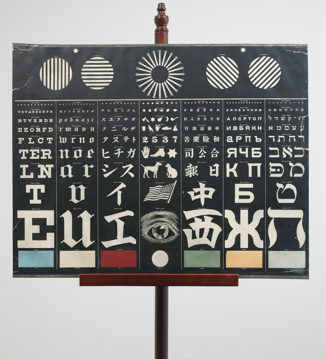 multilingual eye chart with 7 panels