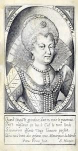 Engraved portait of Marie de Medicis.