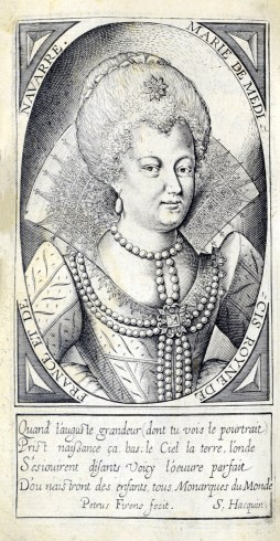 Engraved portait of Marie de Medicis.