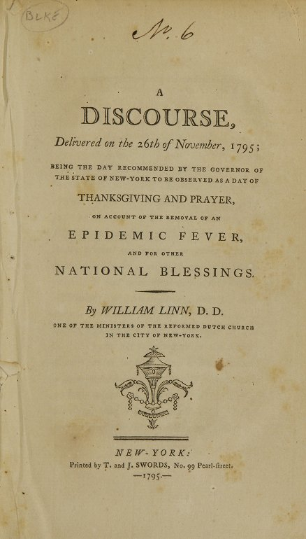 Title page of A Discourse, Delivered on the 26th of November, 1795.