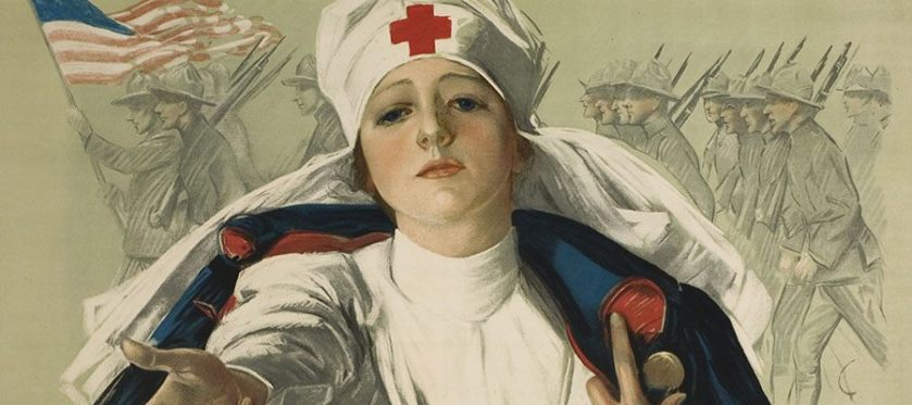 An ilustration of a woman in a red cross uniform reaching out imploringly as American solders march in the background.