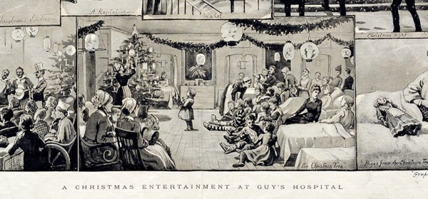 A collage of illustrations depicting holiday events at Guy's Hospital.