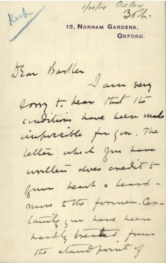 Handwritten letter by Osler on January 30, 1914, from 13 Norham Gardens, Oxford.