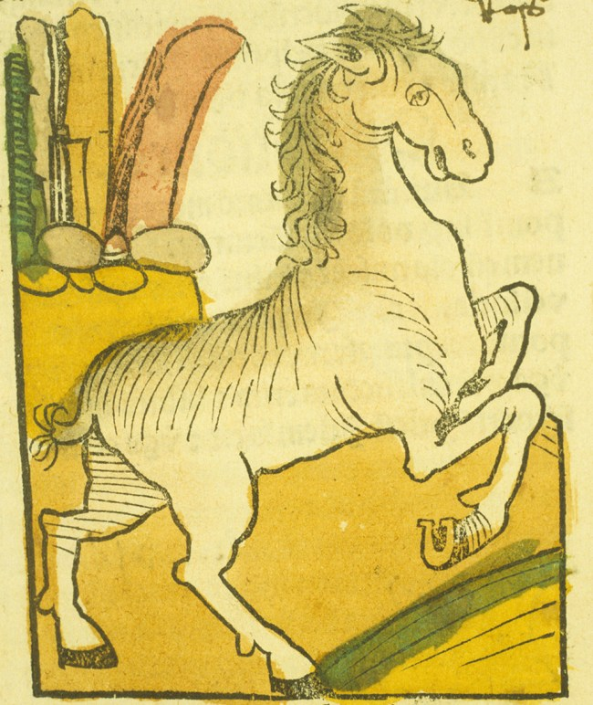 Hand-colored woodcut of a rearing horse.