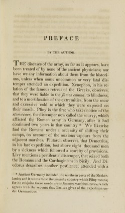 The first page of the preface toPringle's Observations of the Diseases of the Army.