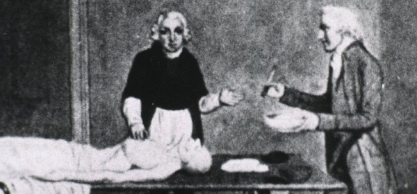 An illustration of two men working on a body.