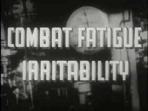 The title screen of Combat Fatigue Irritability; text over a blurry image of a pressure gauge.