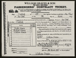 A printed ticket with blanks filled in promissing passage to New York for Biddy, Michael, and William Hannan.