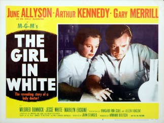 Advertisement for the Girl In White showing a still of a nurse and doctor working.