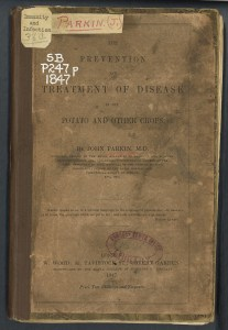 A darkened, repaired cover of the book The Prevention and Treatment of Disease in the Potatoe and Other Crops.