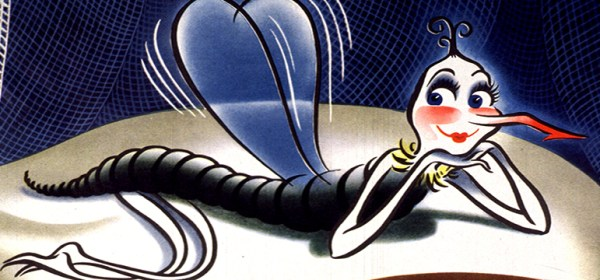 Illustration of a cartoon-character mosquito sitting on a pillow on what appears to be an Army bed.