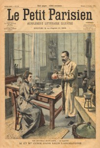 Cover of Le Petit Parisien from 1904 with a colored illustration of Marie and Pierre Currie working in a lab.