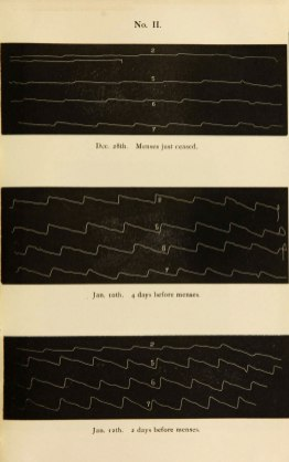 Three charts showing pulse strength at various times of the months of December and January before and after menses..