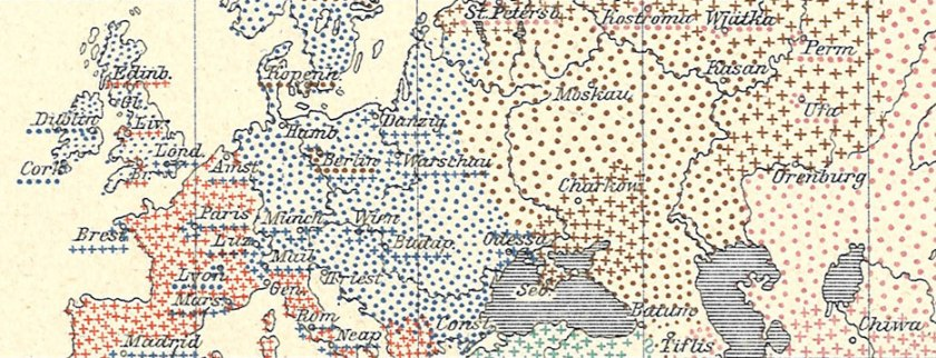 Detail of map of Europe.