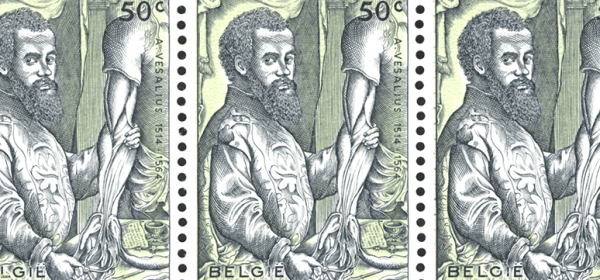 A sheet of three identical stamps featuring a reproduction of the portrait of Vesalius from his De Fabrca.