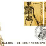 An envelope embellished with a portrait of vesalius on which are two stamps bearing anatomical drawings and a postmark reading Vesalius - De Humani Corporis Fabrica -6762 Saint-Mard. 19-04-2014