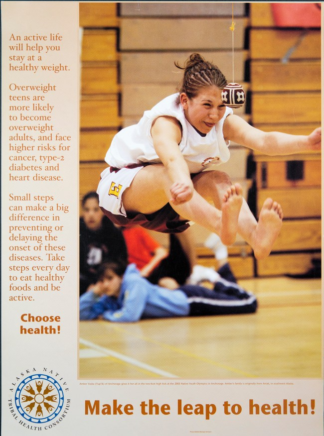 Poster of Alaska Native teenager jumping in a gymnasium.