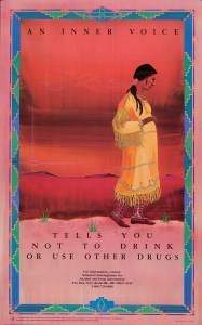 Substance-related prevention poster featuring a pregnant Native American Indian is standing in front of a southwestern background
