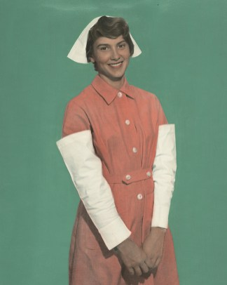 Nurse wearing uniform from Hong Kong.