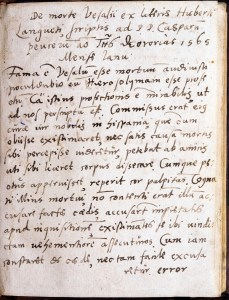 Page one of a manuscript copy of a letter in Latin inscribed in a book.